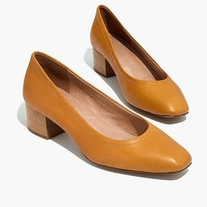 Madewell The Raquel Pump in Leather Yellow Tan